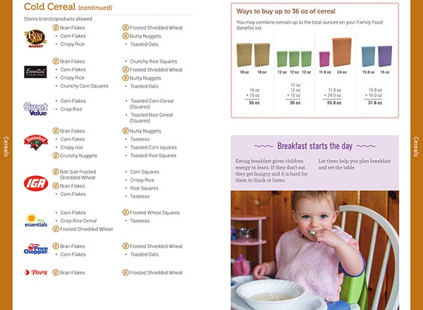 Vermont WIC Food List Cold Cereal