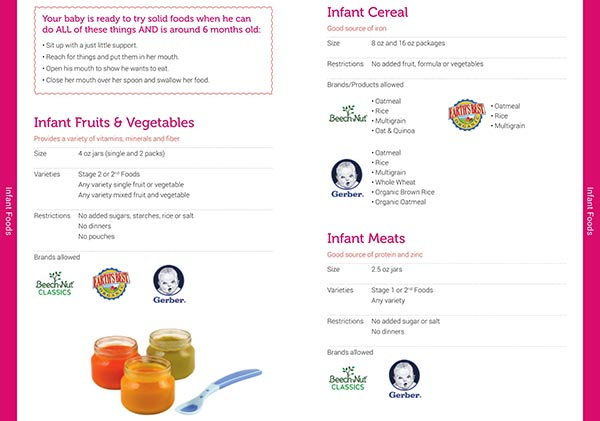 Vermont WIC Food List Infant Cereal, Infant Meta, Infant Fruits and Vegetables