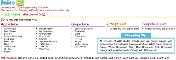 Virginia WIC Food List Juice, Apple Juice, Grape Juice and Frozen Juice