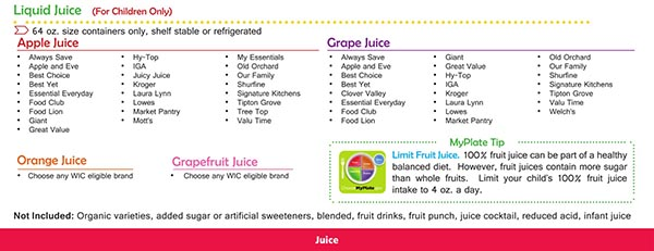 Virginia WIC Food List Liquid Juice