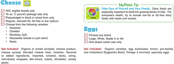 Virginia WIC Food List Cheese and Eggs