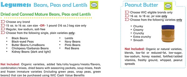 Virginia WIC Food List Beans, Peas, Lentils, Dried Beans, Canned Mature Beans and Peanut Butter