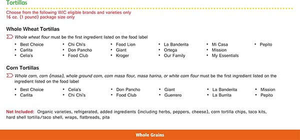 Virginia WIC Food List Whole Wheat Tortillas and Corn Tortillas