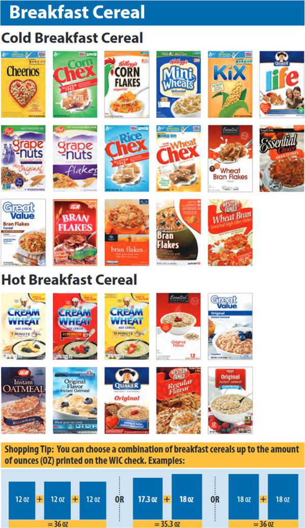 Washington WIC Food List Cold Breakfast Cereal