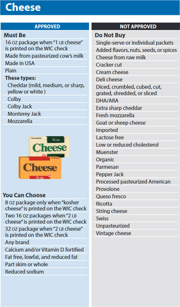 Washington WIC Food List Cheese