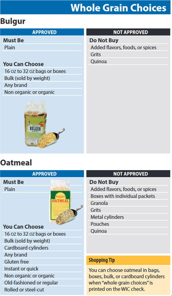 Washington WIC Food List Whole Grain Choices, Bulgur and Oatmeal
