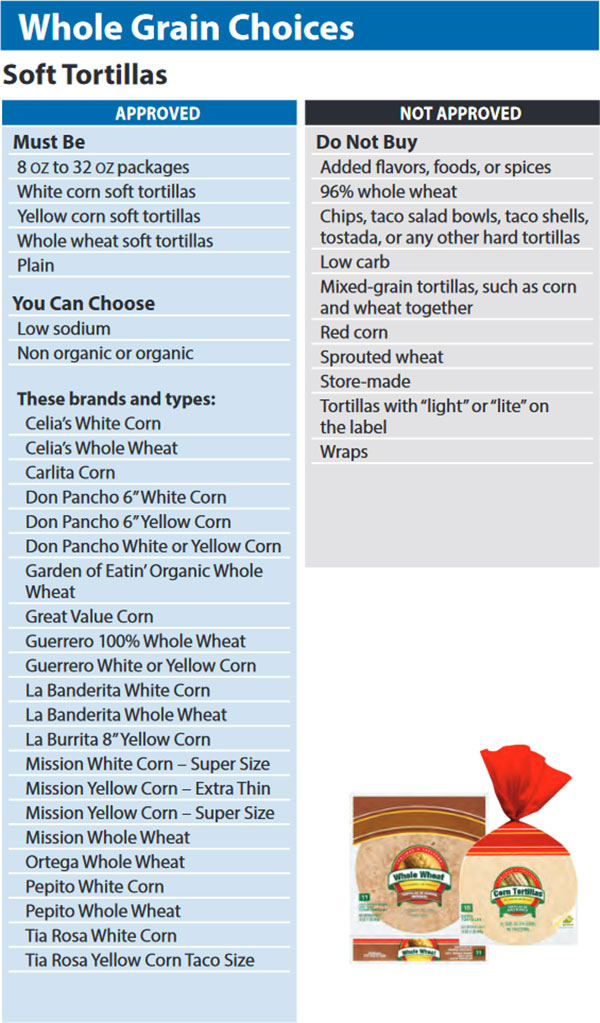 Washington WIC Food List Whole Grain Choices and Soft Tortillas