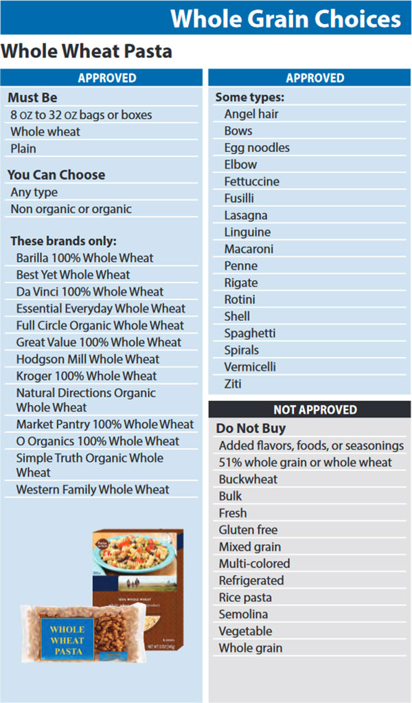Washington WIC Food List Whole Grain Choices and Whole Wheat Pasta