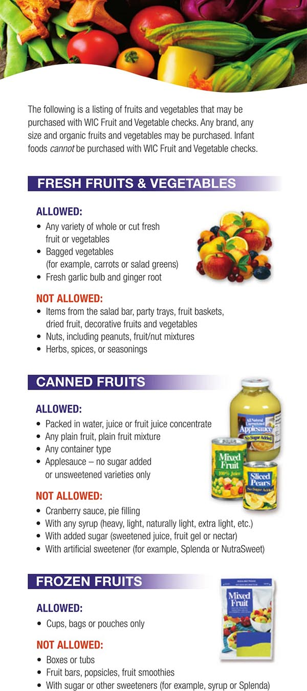 Wisconsin WIC Food List Canned Fruits, Frozen Fruits, Fruits and Vegetables