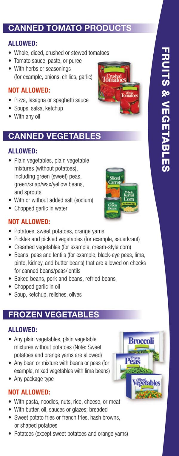 Wisconsin WIC Food List Canned Tomato Products, Canned Vegetables and Frozen Vegetables