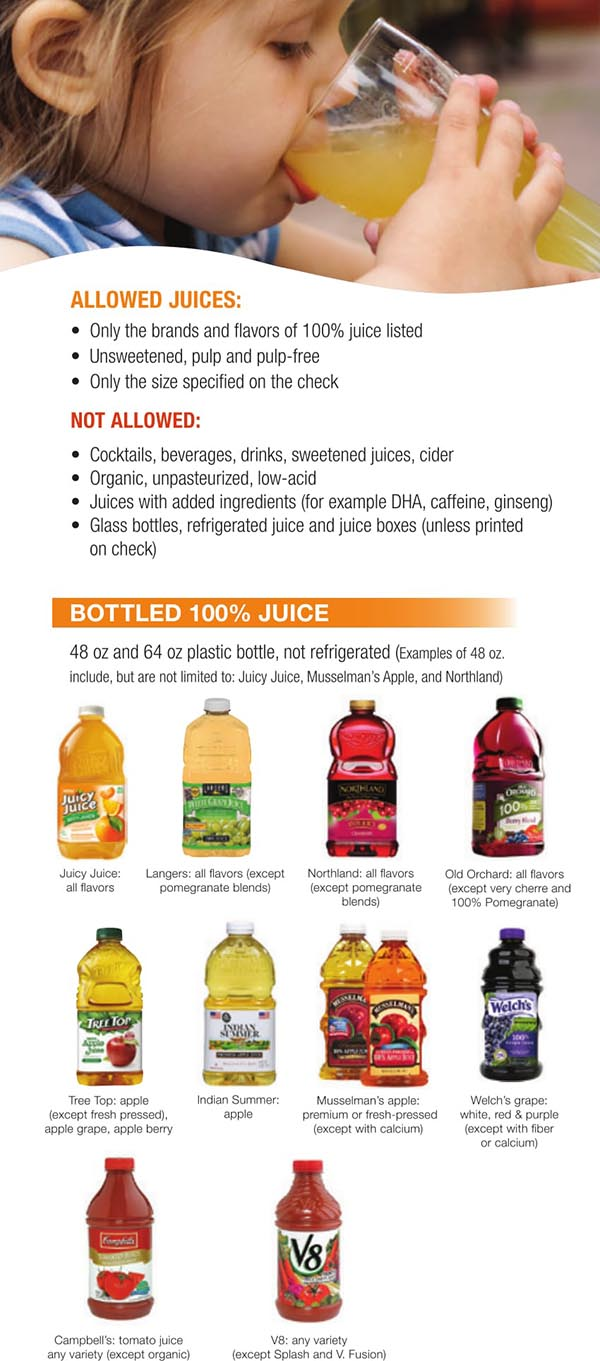 Wisconsin WIC Food List Bottled Juice