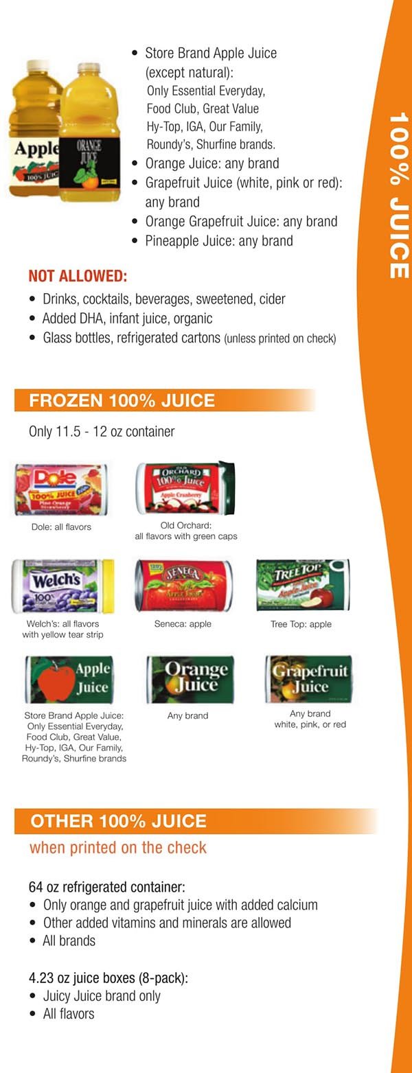 Wisconsin WIC Food List Frozen Juice and Other Juice