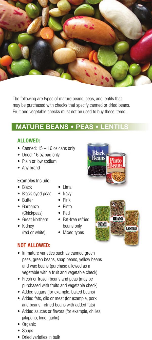 Wisconsin WIC Food List Mature Beans, Peas and Lentils