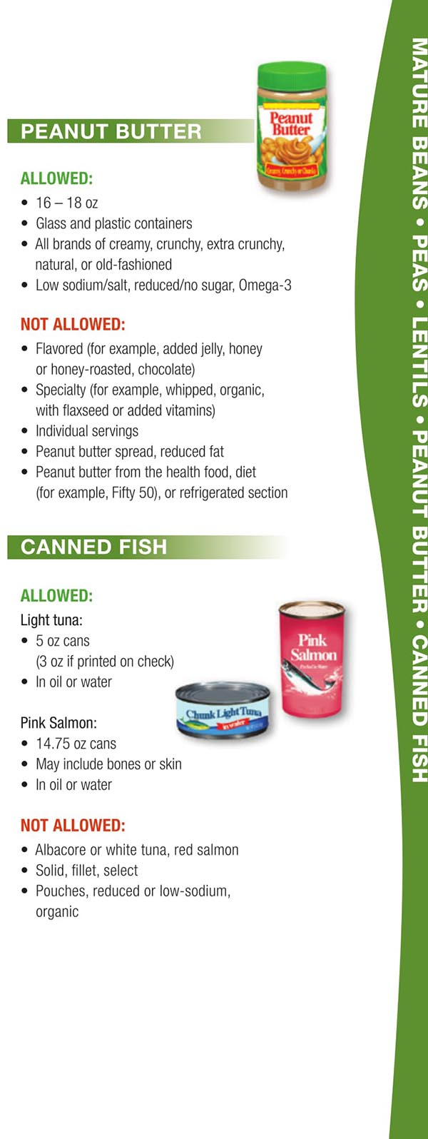Wisconsin WIC Food List Peanut Butter and Canned Fish