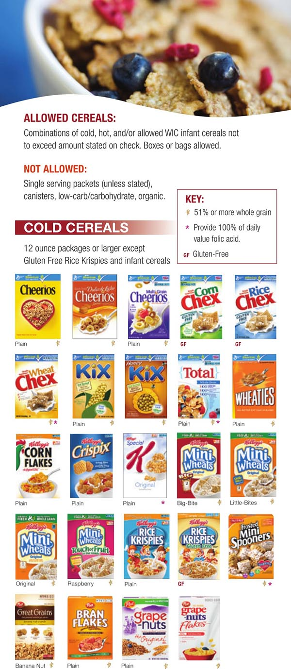 Wisconsin WIC Food List Cold Cereals