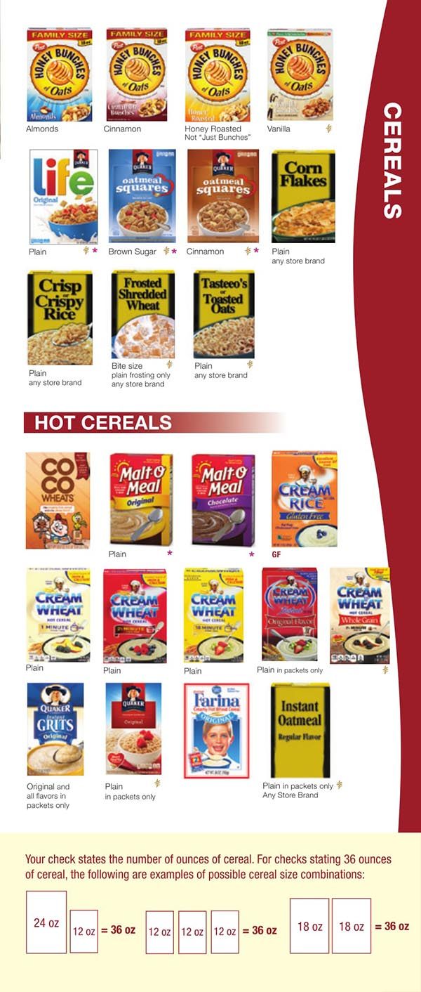 Wisconsin WIC Food List Hot Cereals
