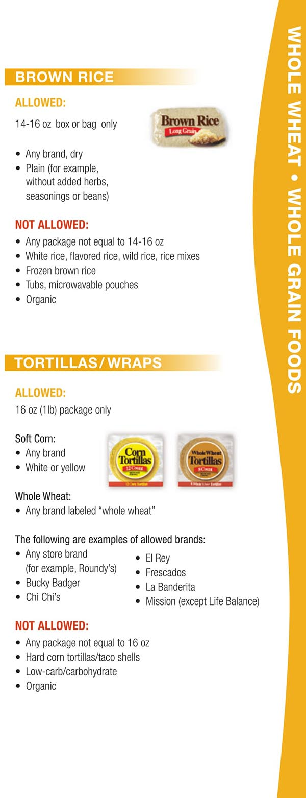 Wisconsin WIC Food List Brown Rice, Tortillas and Wraps