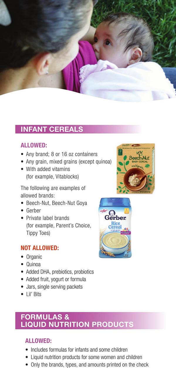 Wisconsin WIC Food List Infant Cereals, Formulas and Liquid Nutrition Products