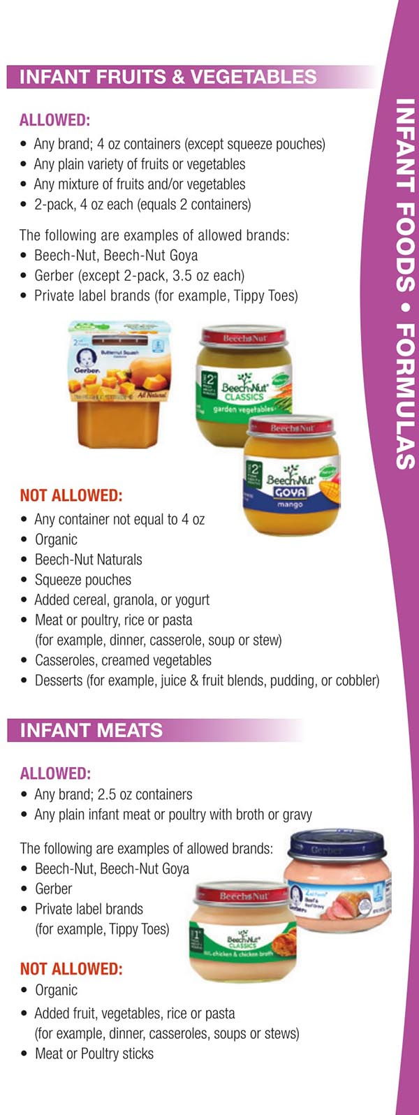 Wisconsin WIC Food List Infant Meats, Infant Fruits and Vegetables