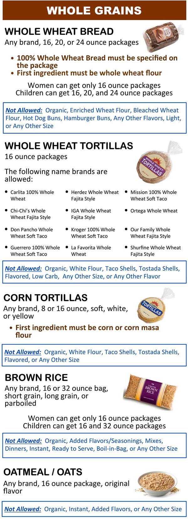 Wyoming WIC Food List Whole Grains, Whole Wheat Bread, Whole Wheat Tortillas, Corn Tortillas, Brown Rice and Oatmeal
