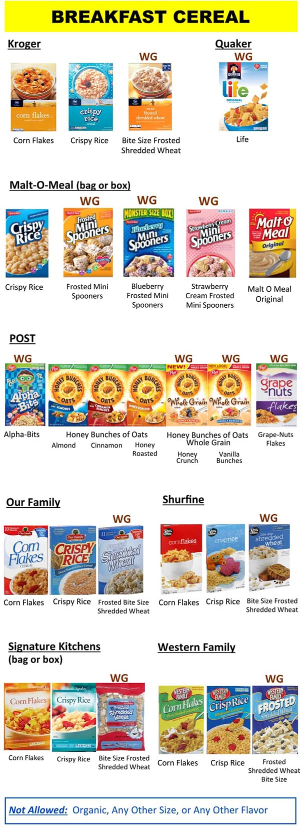 Wyoming WIC Food List Breakfast Cereal Product List