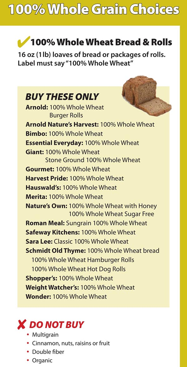 District Of Columbia WIC Food List Whole Wheat Bread and Rolls