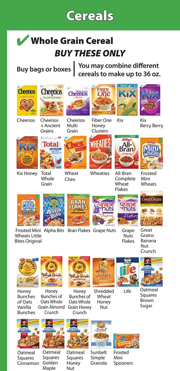 District Of Columbia WIC Food List Whole Grain Cereal