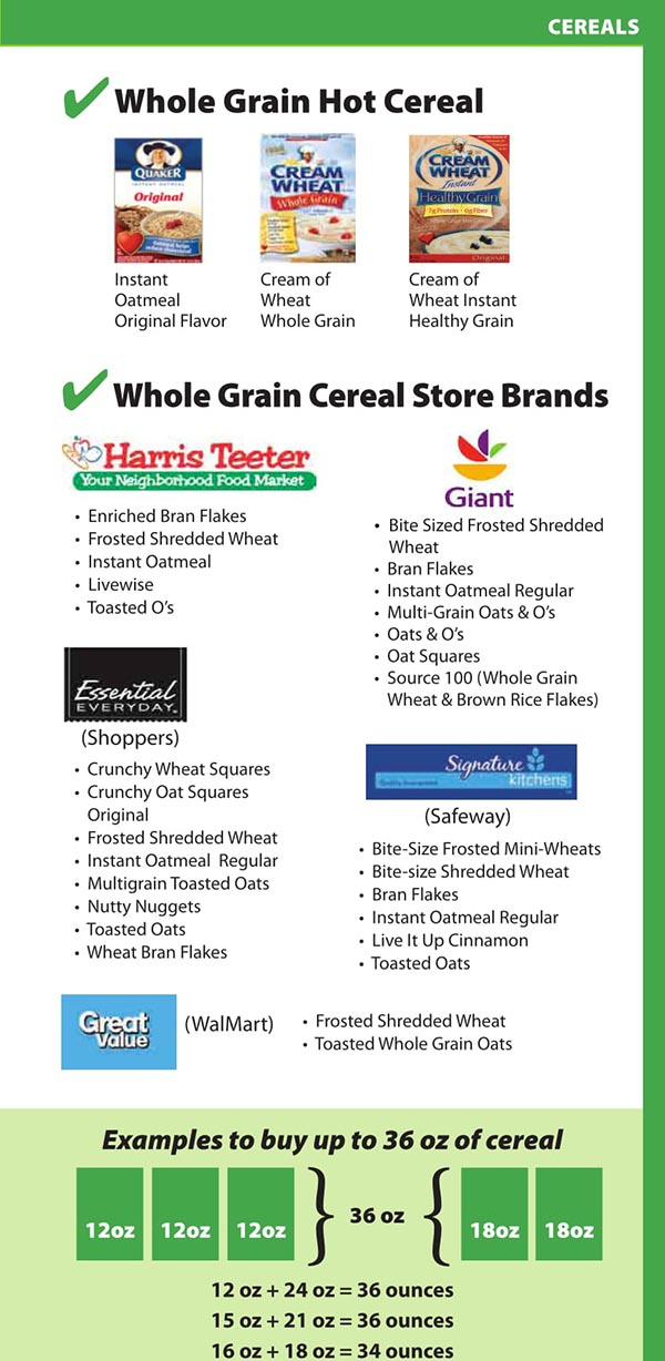 District Of Columbia WIC Food List Whole Grain Hot Cereal