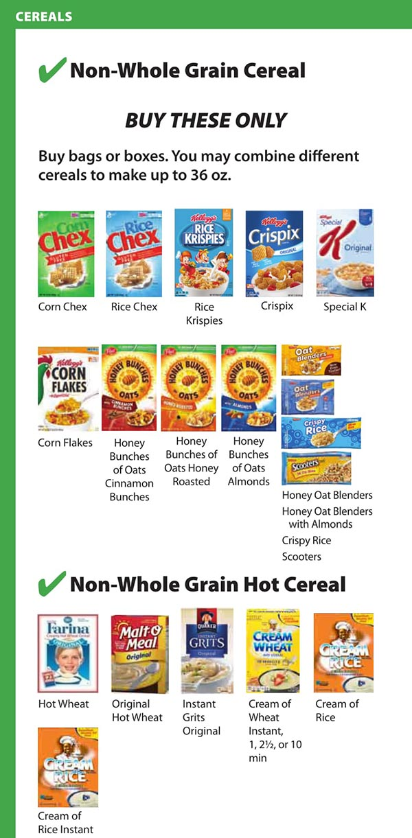 District Of Columbia WIC Food List None Whole Grain Cereal