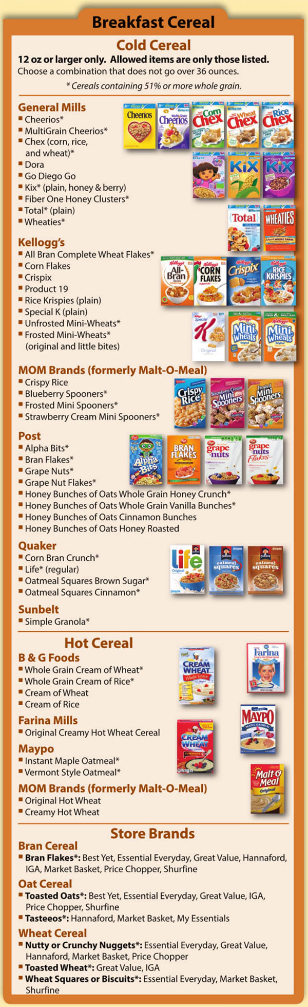 New Hampshire WIC Food List Breakfast Cereal